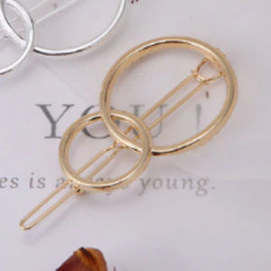 NWT- Gold Tone Double Circle Barrette